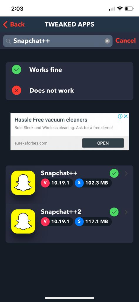 Search SnapChat++ App in TweakBox App