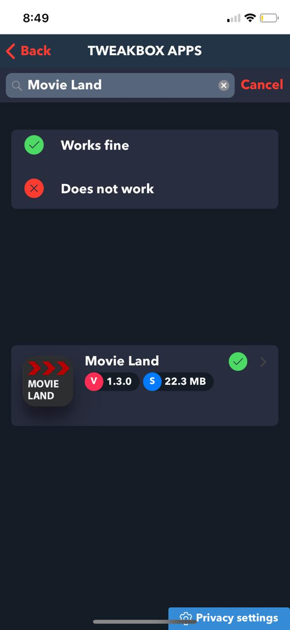 Movie Land on iOS TweakBox