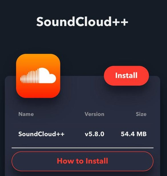 Download SoundCloud++ for iOS(iPhone/iPad) With TweakBox App