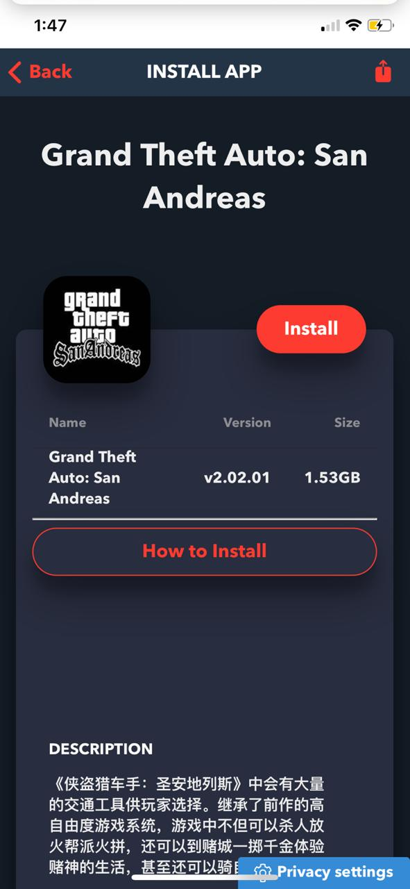 Download GTA: San Andreas on iOS (iPhone/iPad) using TweakBox