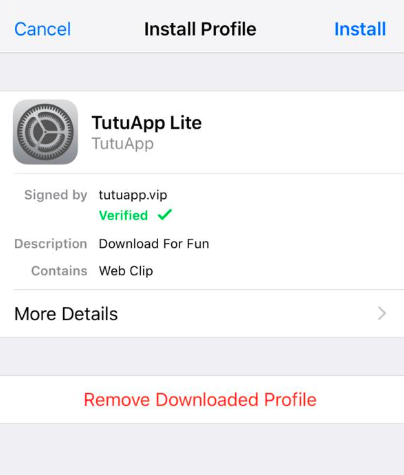 Install Profile of TuTuApp Lite on iOS