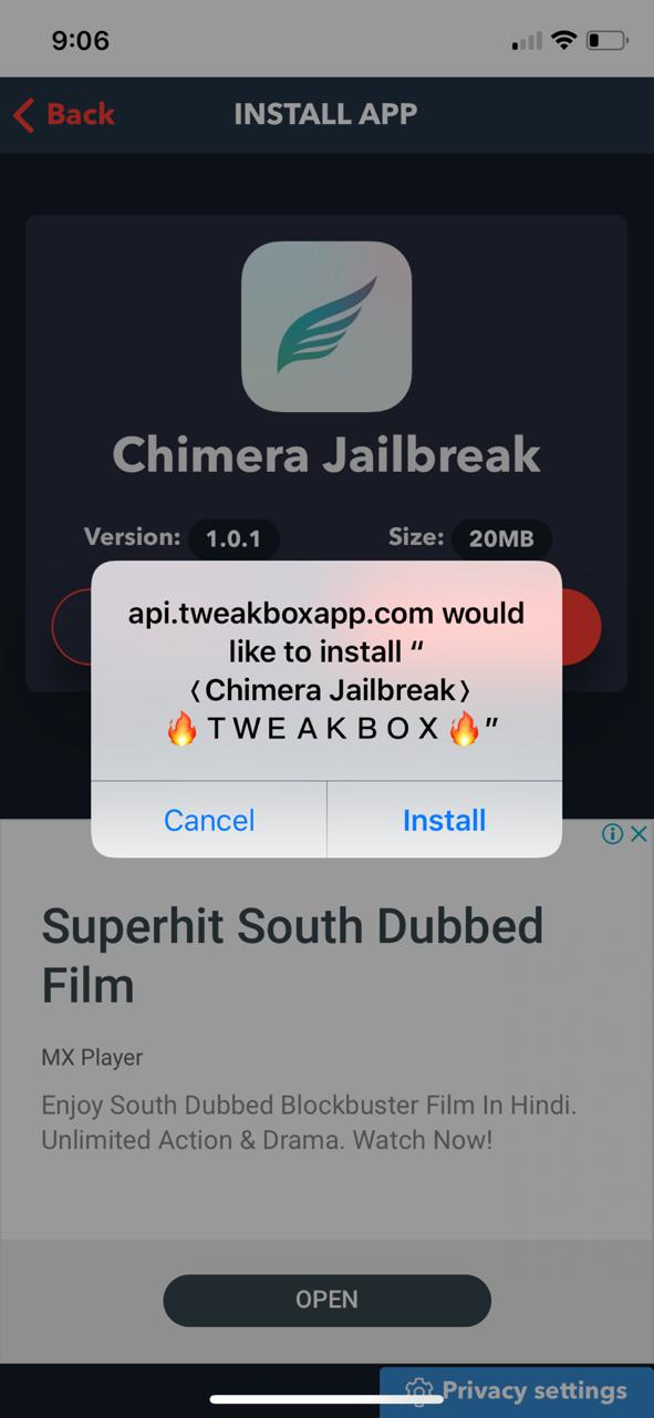 Chimera Jailbreak on iOS Tweakbox Download