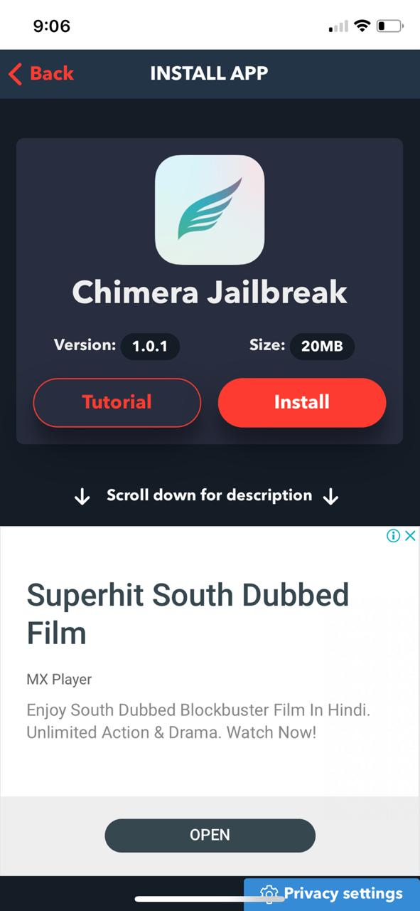 Latest Chimera Jailbreak on iOS Tweakbox