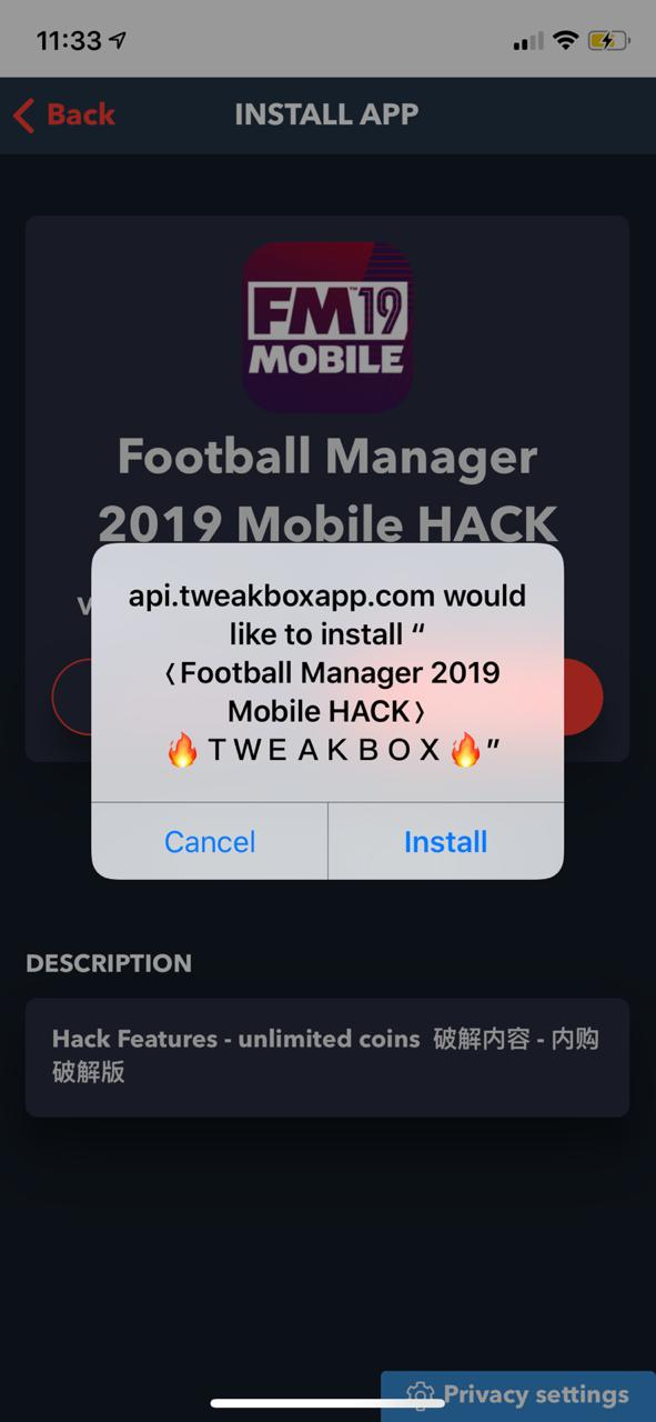 FootBall Manager 2019 Hack on iOS TweakBox App